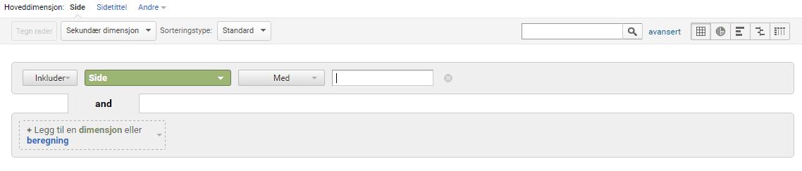 Google Analytics Avansert Søk
