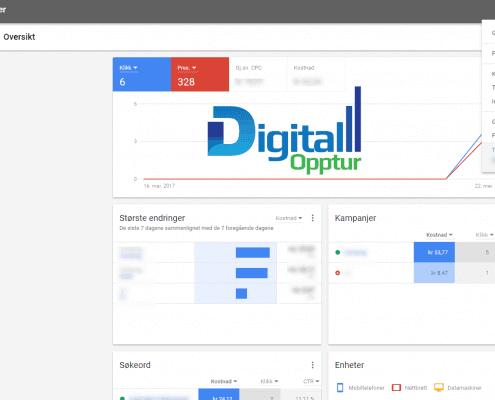 Nye Google AdWords - Oversikt meny