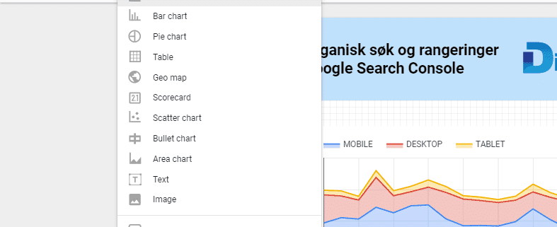 Data Studio Search Console topp