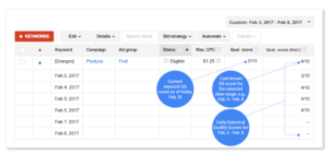 Google AdWords Historical Quality Score segmenter