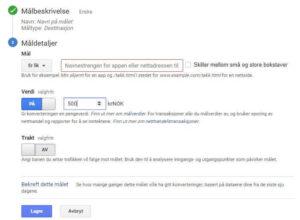 Hvordan sette opp mål i Google Analytics - måldetaljer analytics