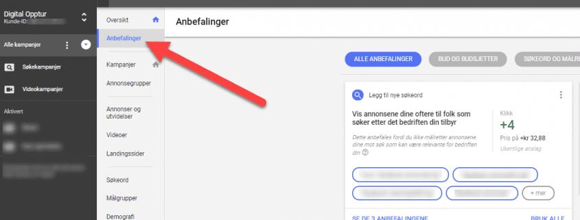 Google AdWords Anbefalinger