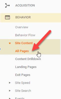 hvor finner jeg alle sider rapporten i google analytics