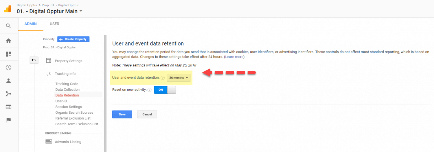Dalagring i Google Analytics