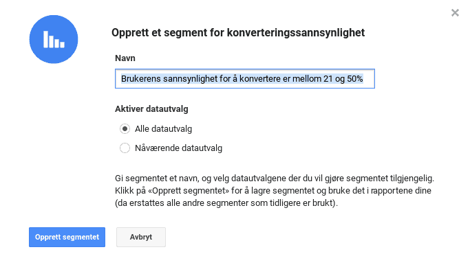Sannsynlighet for konvertering i Analytics segmenter