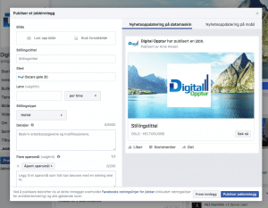 Facebook jobbinnlegg oppsett