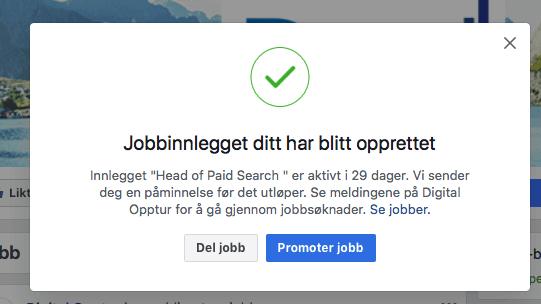 Facebook jobbinnlegg opprettet