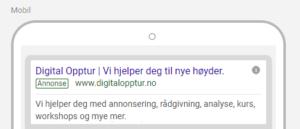 Google Ads gammel annonse 2 overskrifter
