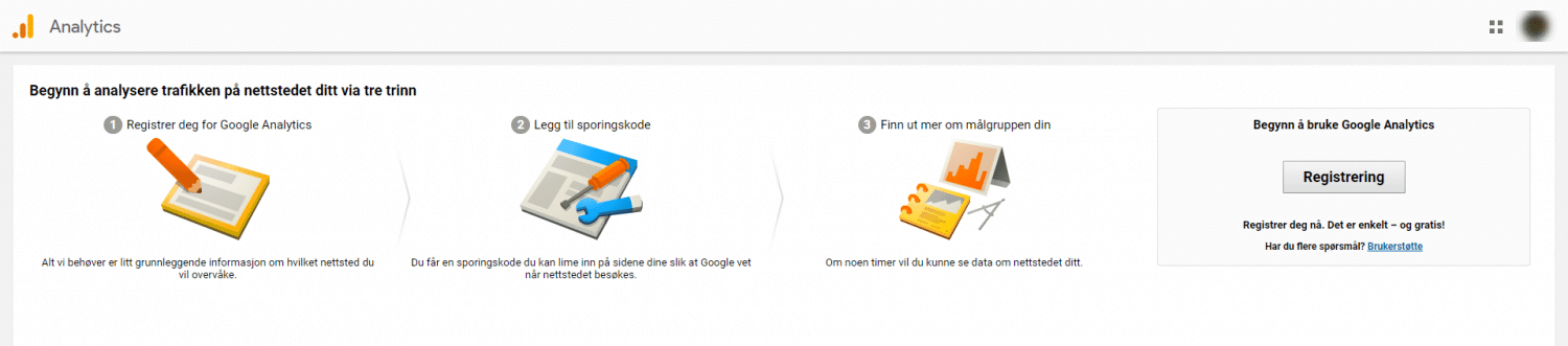google analytics opprette konto