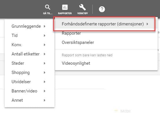 Fiks ferdig rapporter i Google Ads toppmeny
