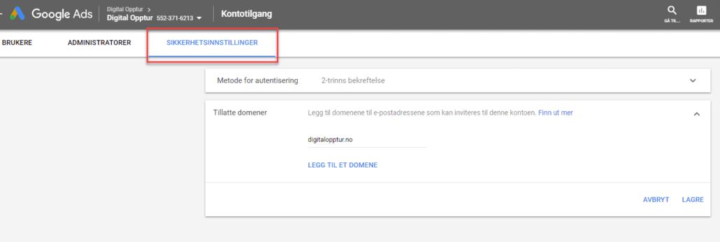 Sikkerhetsinnstilling i Google Ads kontoer
