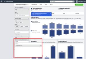 Facebook publikum med forbindelse til