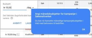 Månedsbudsjett for kampanjer google ads