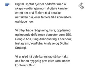 Digital-Opptur-Google-Min-Bedrift beskrivelse