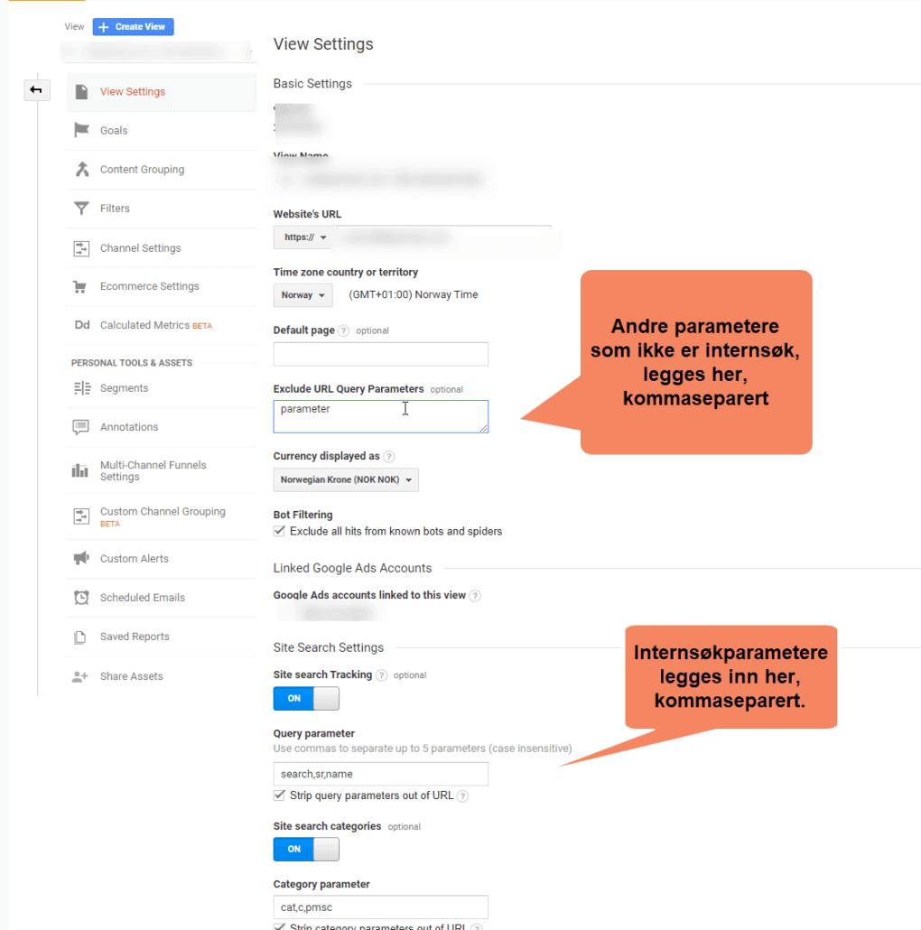 innstillinger hvordan fjerne parametere fra Google Analytics