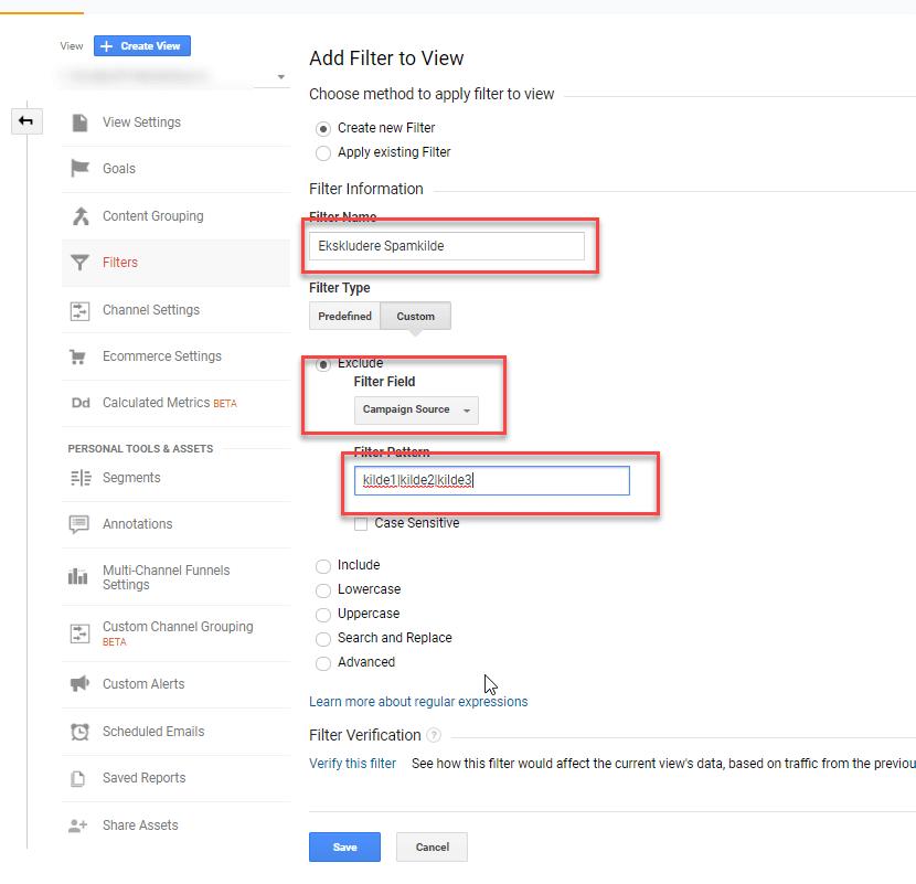 Spamfilter1 ekskluderer spesifiserte spam-kilder