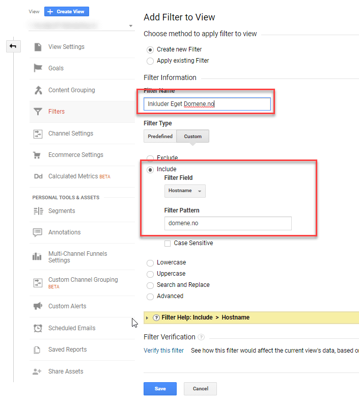 Spamfilter 2. Inkludere kun eget domene som datakilde.