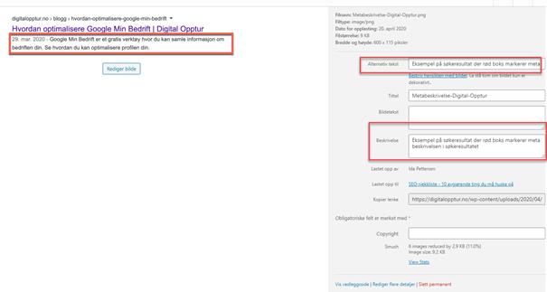 Bildet viser Media funksjonen i WordPress med bilde av et søkeresultat med markert meta beskrivelse og alt-tekst og beskrivelse-oppsettet markert til høyre