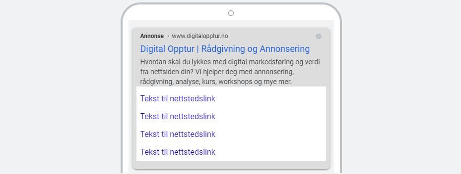 Google Ads utvidelse for nettstedslinker