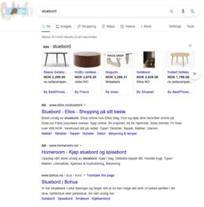 Stuebord i Google Shopping