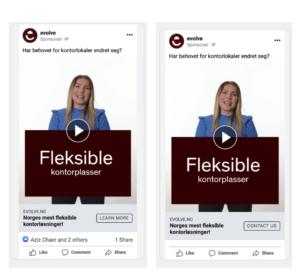 Fleksible kontorplasser annonse på Facebook